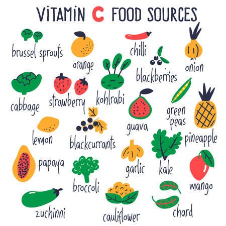 Vitamin C food sources collection. Vector cartoon illustration, isolated on white.