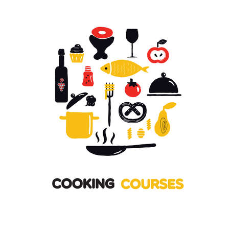 Cooking courses circle illustration. Vector Food and kitchenware.