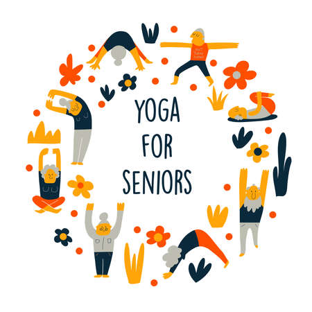 Funny cartoon illustration of senior people, doing yoga exercises. Round composition. Vector illustration