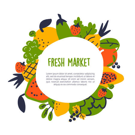 Fresh market Vector illustration of fruits and vegetables. Food frame. Healthy lifestyle concept.