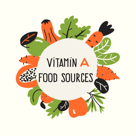 Vector illustration of Vitamin A rich foods. Food frame. Healthy lifestyle concept.