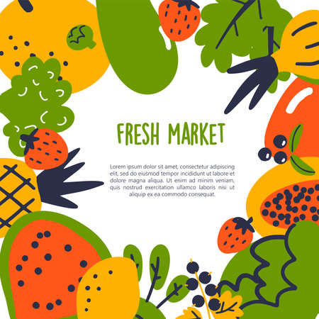 Fresh market. Vector cartoon illustration of fruits and vegetables with text space. Healthy eating template Stock Vector - 124559315