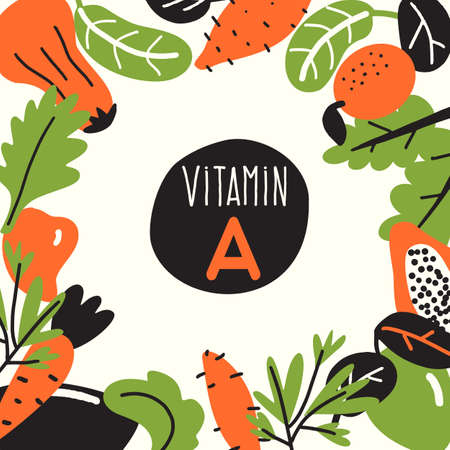 Vitamin A. Vector cartoon illustration, Food infredients with text space. Healthy eating template Stock Vector - 124559319