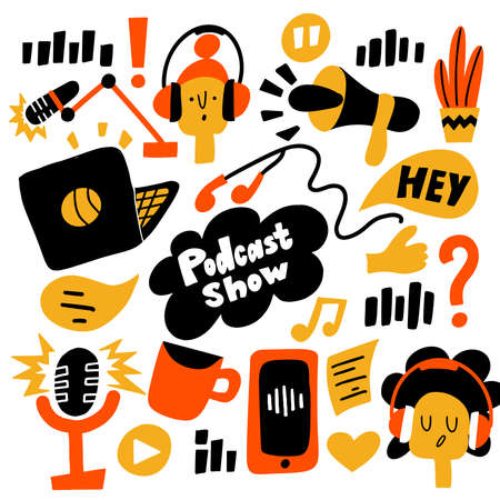 Podcast show. Vector flat cartoon illustration of different podcast elements Ilustração