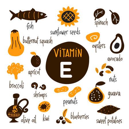 Vitamin E food sources set. Vector cartoon illustration, isolated on white. Ilustração Vetorial