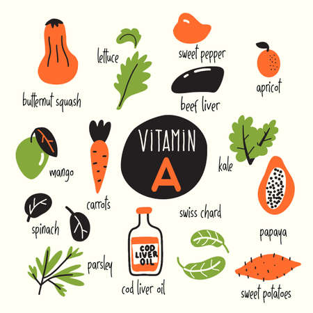 Funny vector caroon illustration of Vitamin A rich foods. Illustration