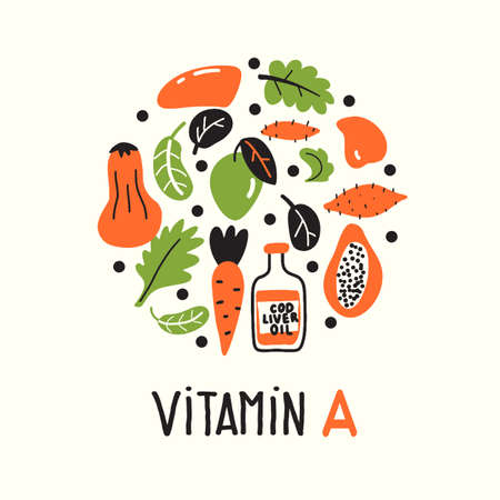 Vitamin A. Vector cartoon illustration in circle.