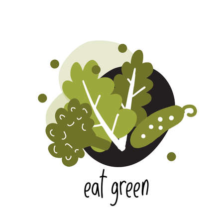 Funny vector flat illustration of lettuce, broccoli and cucumber with text Eat green. Ideal for eco, organic food market, labels. Illustration