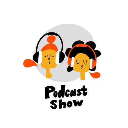 doodle illustration of two dj girls in headphones. Podcast show logo concept.
