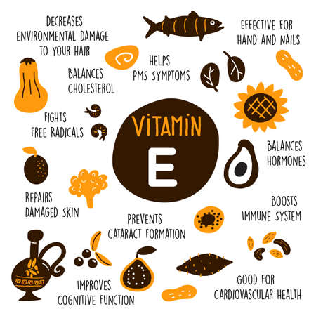 Funny cartoon illustration of Vitamin E sources and information about it benefits.