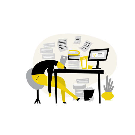 Funny flat illustration of tired male, lying on his work table at the office. Procrastination, professional burnout.
