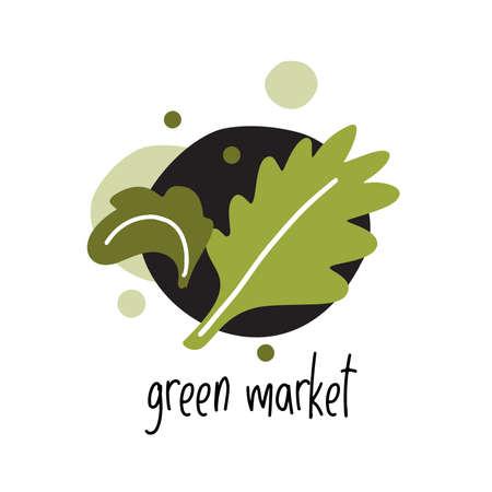 flat illustration of green leafs and text Green market. Logo concept for eco market. Healthy lifestyle. Ilustração