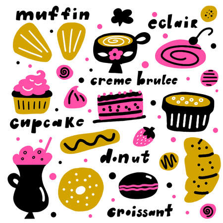 Desserts. cartoon illustration of different cakes and pastries.
