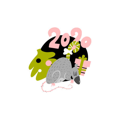 Funny  illustration of rat with christmas tree and gift box. 2020 year symbol. Isolated on white.