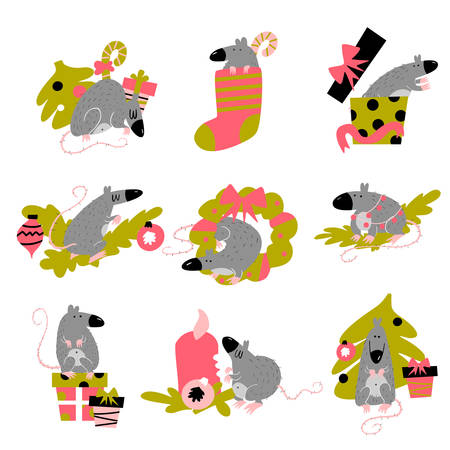 Funny collection of christmas rats. Symbol of 2020 year in Chinese calendar.