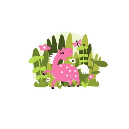 illustration of funny pink horse with herbs and flowers.