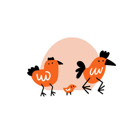 Funny vector illustration of cock, hen and chicken