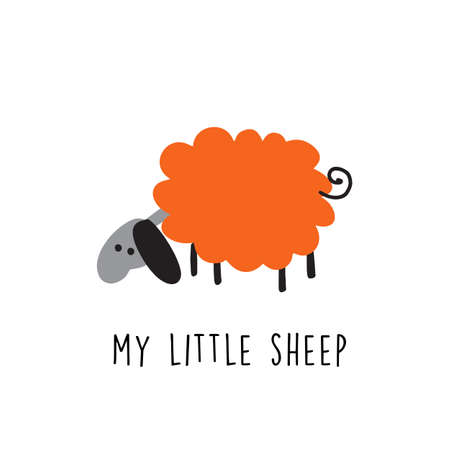Funny illustration of sheep. Phrase My Little Sheep.