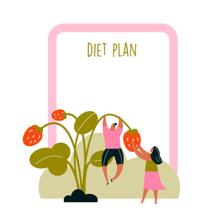 Diet plan.Vector illustration of couple with strawberry