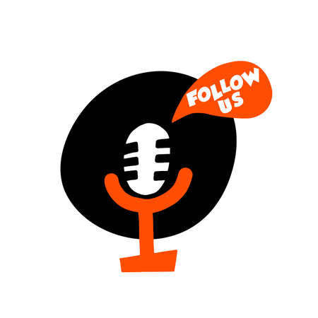 Follow us. cartoon illustration of microphone. Concept for social media