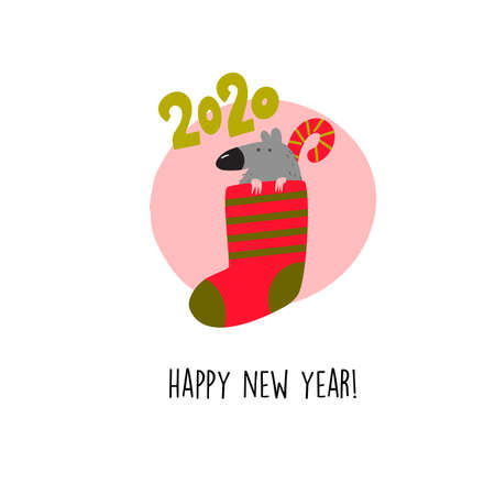 Funny illustration of rat sitting in christmas sock with candy. 2020 year symbol. Quote Happy New Year