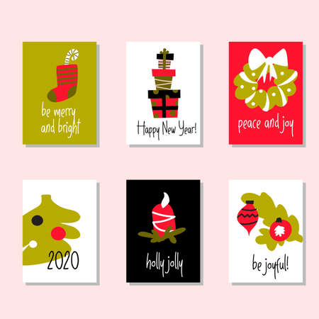 Set of funny christmas cards with greetings.