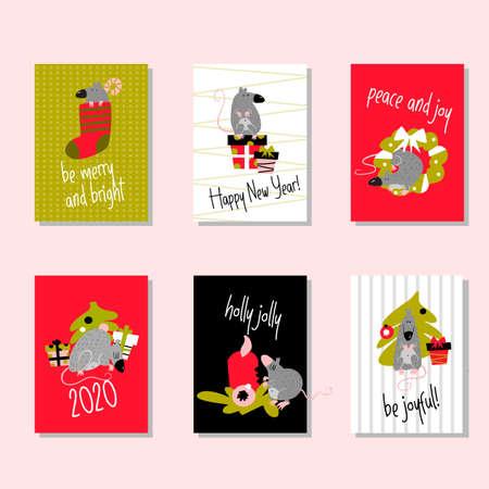 Conjunto de divertidas tarjetas navideñas con ratas y saludos. Invitación, cartel.