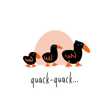 Funny illustration of three walking ducks.