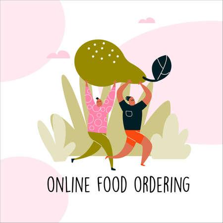 illustration of two man bringing big pear. Online food ordering concept.