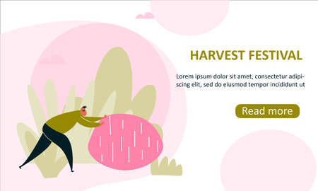 illustration of man pushing a big potato. Harvesting. Web banner template.