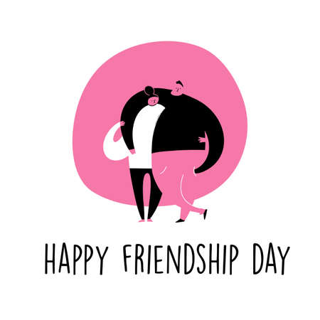 Happy friendship day. cartoon illustration of hugging man and woman.
