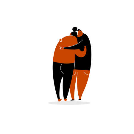 Vector cartoon illustration of hugging couple. Isolated on white background