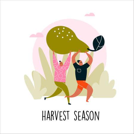 illustration of two man bringing big pear. Harvest season. Illustration