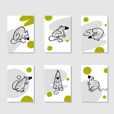 Set of funny christmas cards with rats and greetings. Invitation, poster. Symbol of Year 2020