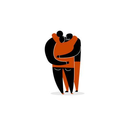 cartoon illustration of hugging couple. Isolated on white background. 向量圖像