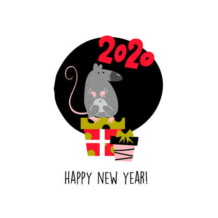 Funny illustration of rat sitting on gift box. 2020 year symbol. Quote Happy New Year.
