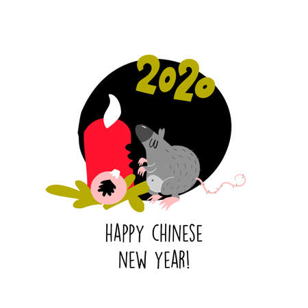 Funny illustration of rat biting christmas candle. 2020 year symbol. Quote Happy Chinese New Year Vectores