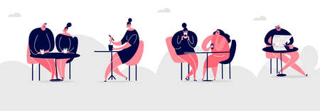 Vector cartoon illustration of people in cafe, drinking tea and coffee. Web banner