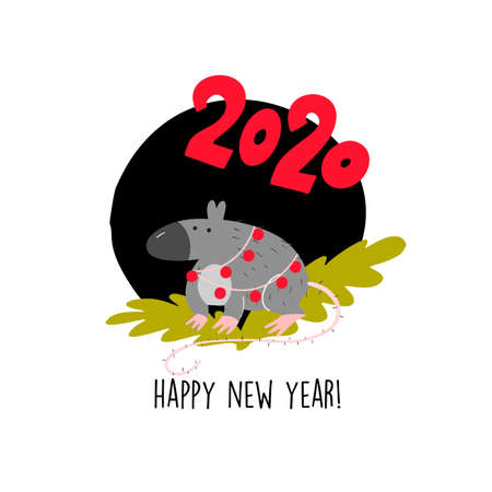 Funny illustration of rat sitting on spruce brunch. 2020 year symbol. Quote Happy New Year 向量圖像