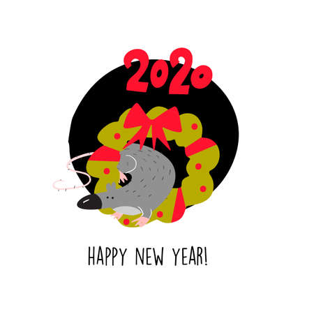 Funny illustration of rat sitting in christmas wreath. 2020 year symbol. Quote Happy New Year