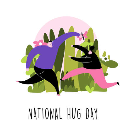 National hug day. Funny cartoon illustration of couple running to each other.