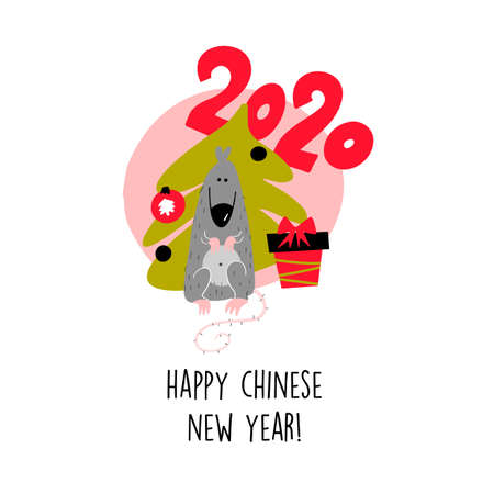 Funny illustration of rat with christmas tree and gift box. 2020 year symbol. Quote Happy Chinese New Year