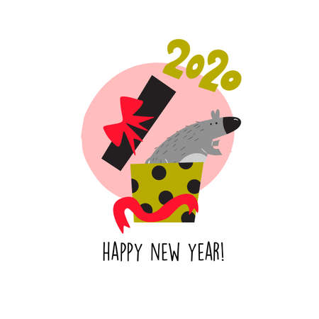 Funny vector illustration of rat jumping from gift box . 2020 year symbol. Quote Happy New Year 向量圖像