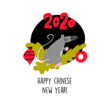 Funny illustration of rat sitting on spruce brunch. 2020 year symbol. Quote Happy Chinese New Year