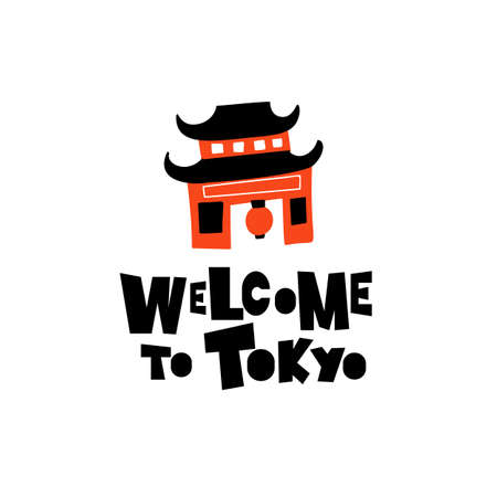 Welcome to Tokyo. Funny illustration of japanese shinto temple.