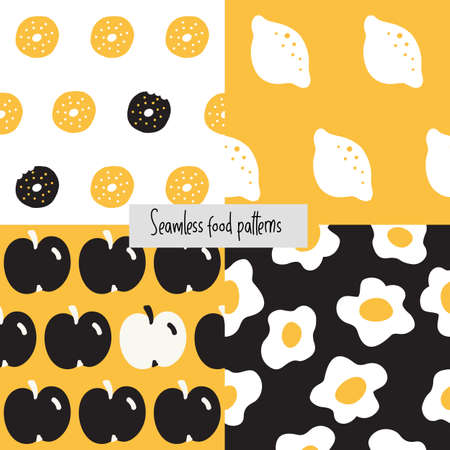 Collection of food seamless  pattern. Cartoon style. Lemon, donuts, apple, eggs.