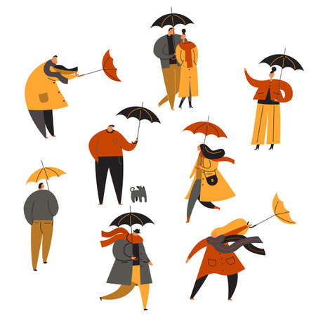Set of people with umbrella.