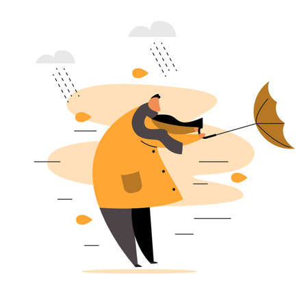 Flat vector illustration of man trying to hold his umbrella Vektorové ilustrace