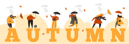 People with umbrellas under the rain. Autumn collection. Flat illustration. Horizontal banner.