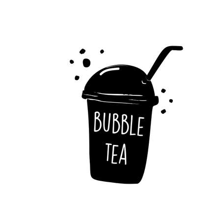 Bubble tea. Hand drawn illustration of tapioca milk tea Illustration